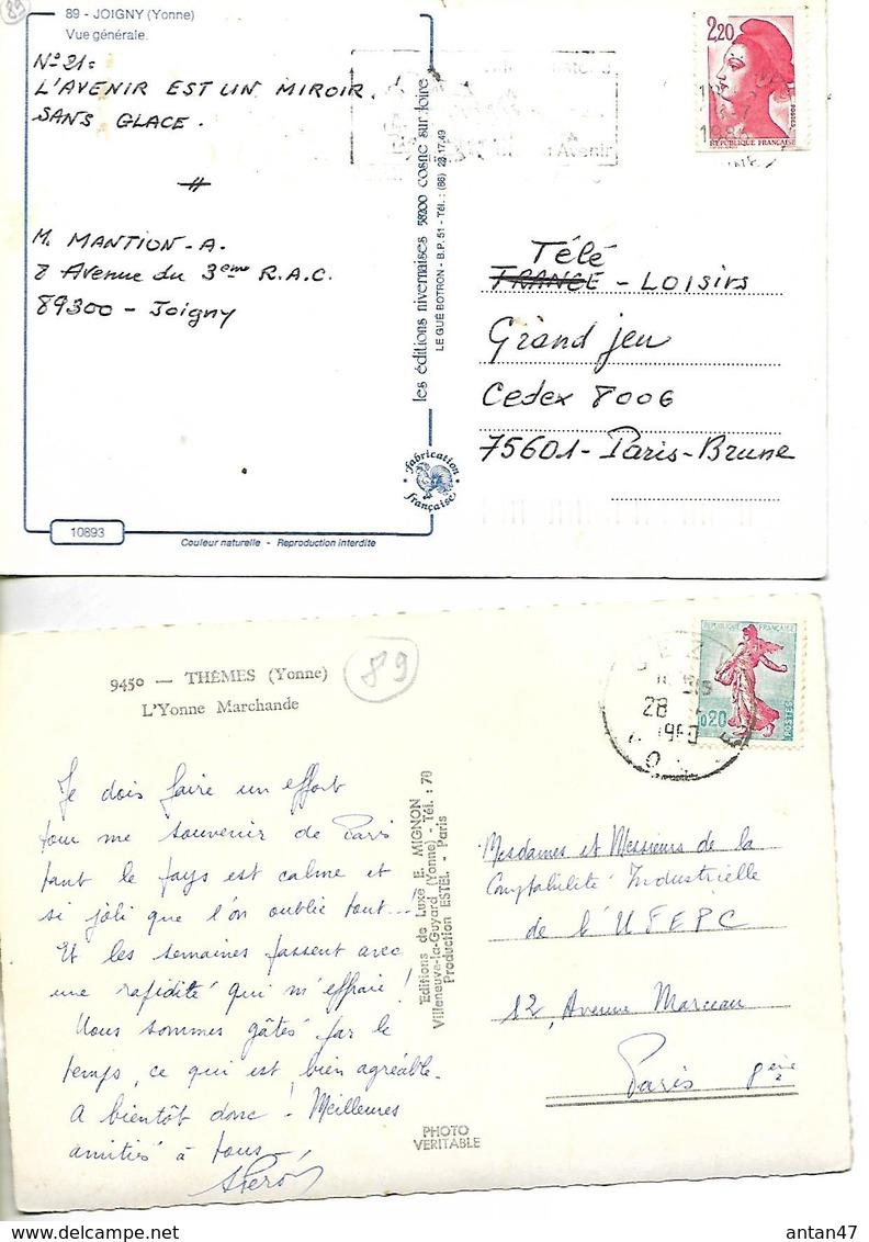 2 Cartes / 89 JOIGNY THEMES , Péniches Sur L'Yonne - Joigny