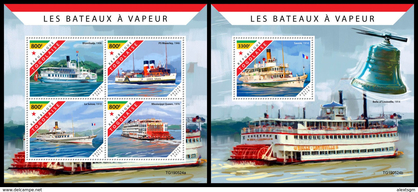 TOGO 2019 - Steam Boats, M/S + S/S. Official Issue [TG190524] - Ships