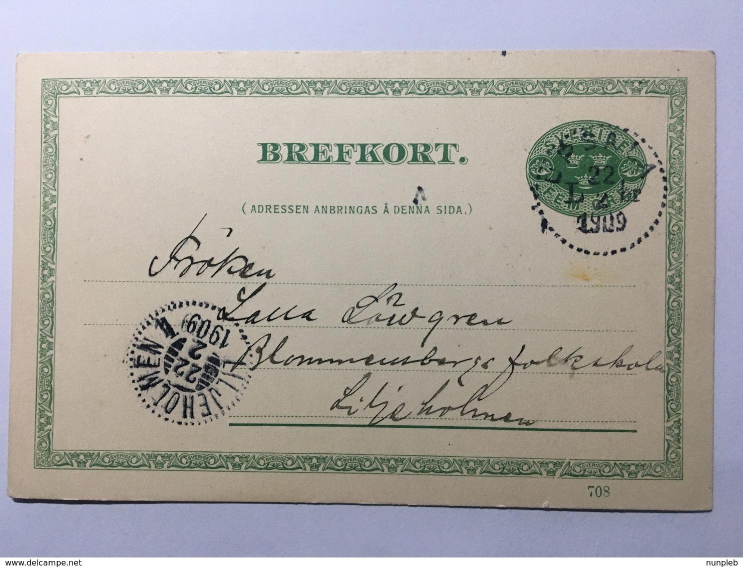 SWEDEN 1909 Pre-paid Postcard Upsala To Liljeholmen Fem Ore Rate - Cartas