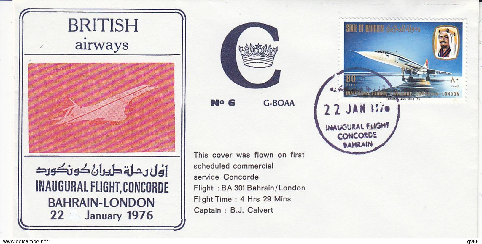 Concorde  ,inaugural Flight Bahrein - London , 1976 , 2 Scans - Bahreïn (1965-...)