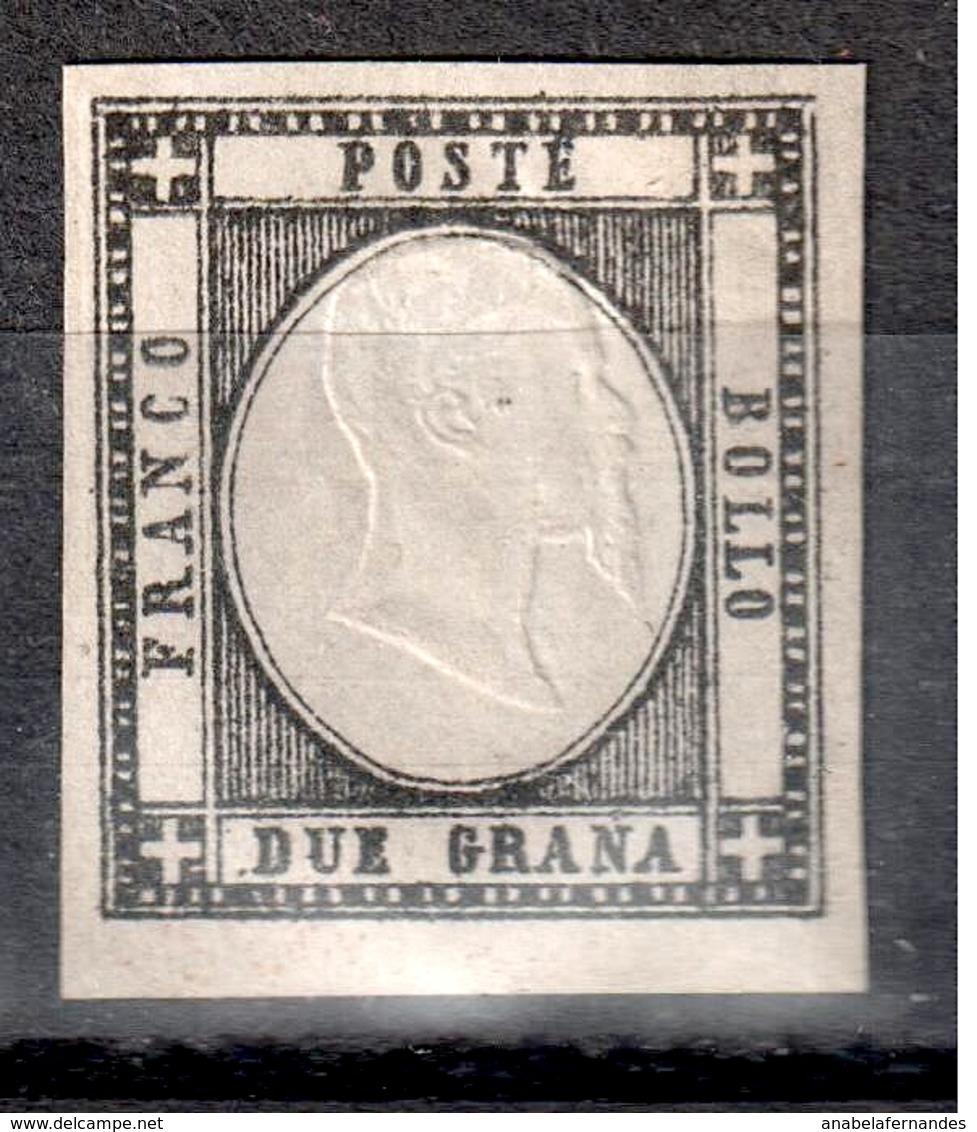 ITALY 1861  2 Grana BLACK   ERROR  YVERT- 13c   SIGNED - Napoli
