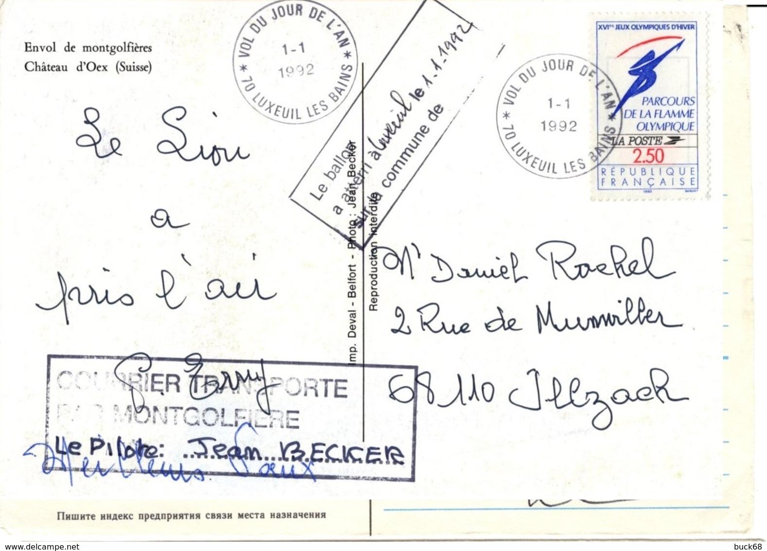 FRANCE 2372 FDC Carte + Flamme Postale Courrier Transporté Par Montgolfière Luxeuil 1er Janvier 1992 [GR] - Fesselballons