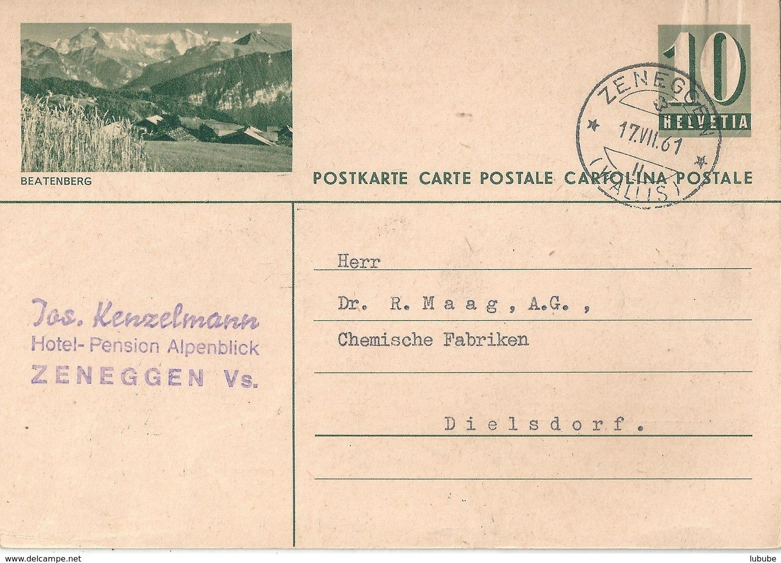 "PK 182  ""Beatenberg""  (Pension Alpenblick, Zeneggen)        1961 - Interi Postali"