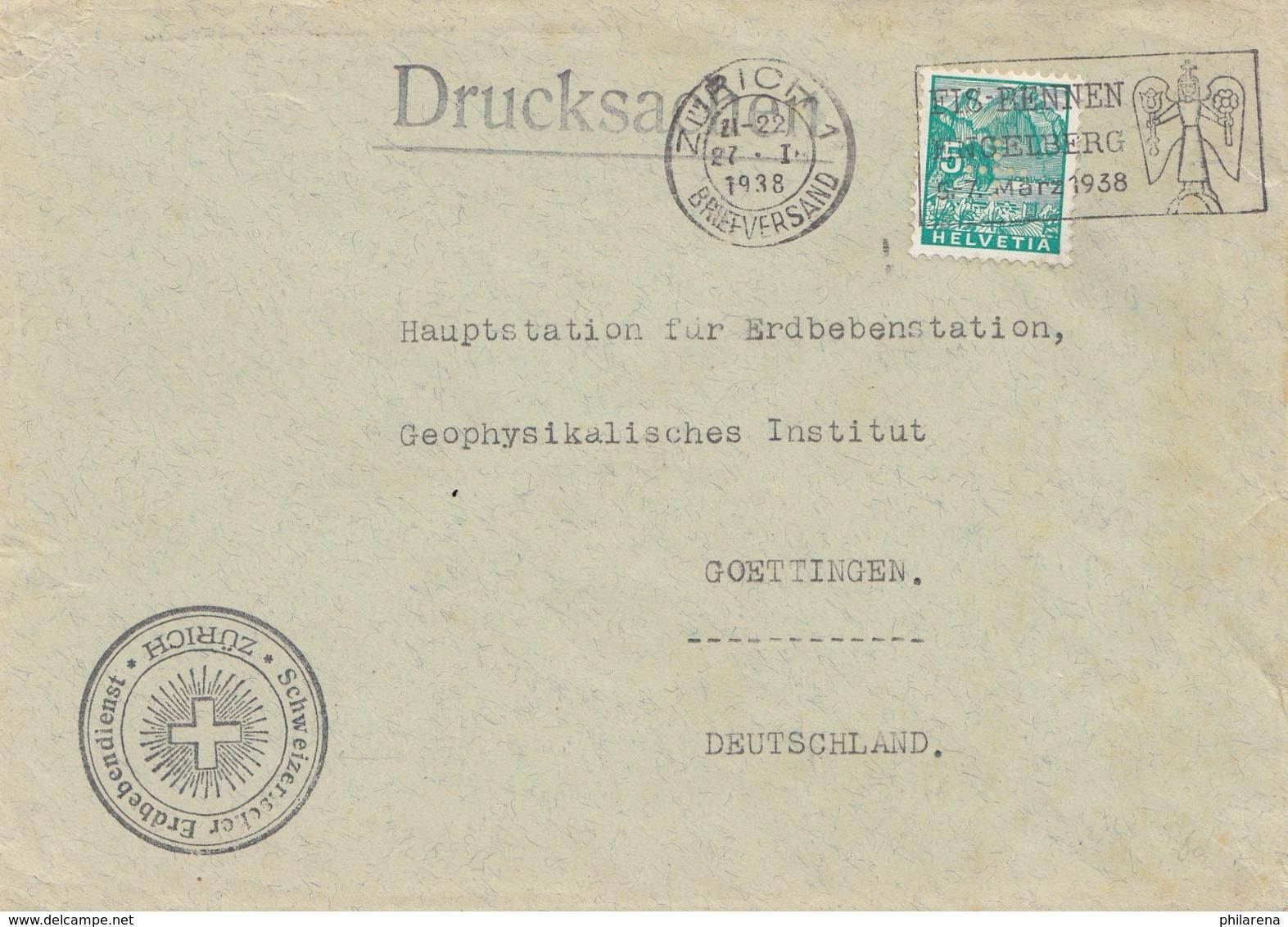 Bergbau: Brief Zürich, Drucksache 1938, Erdbebendienst Erdbebenstation Göttingen - Sonstige - Europa