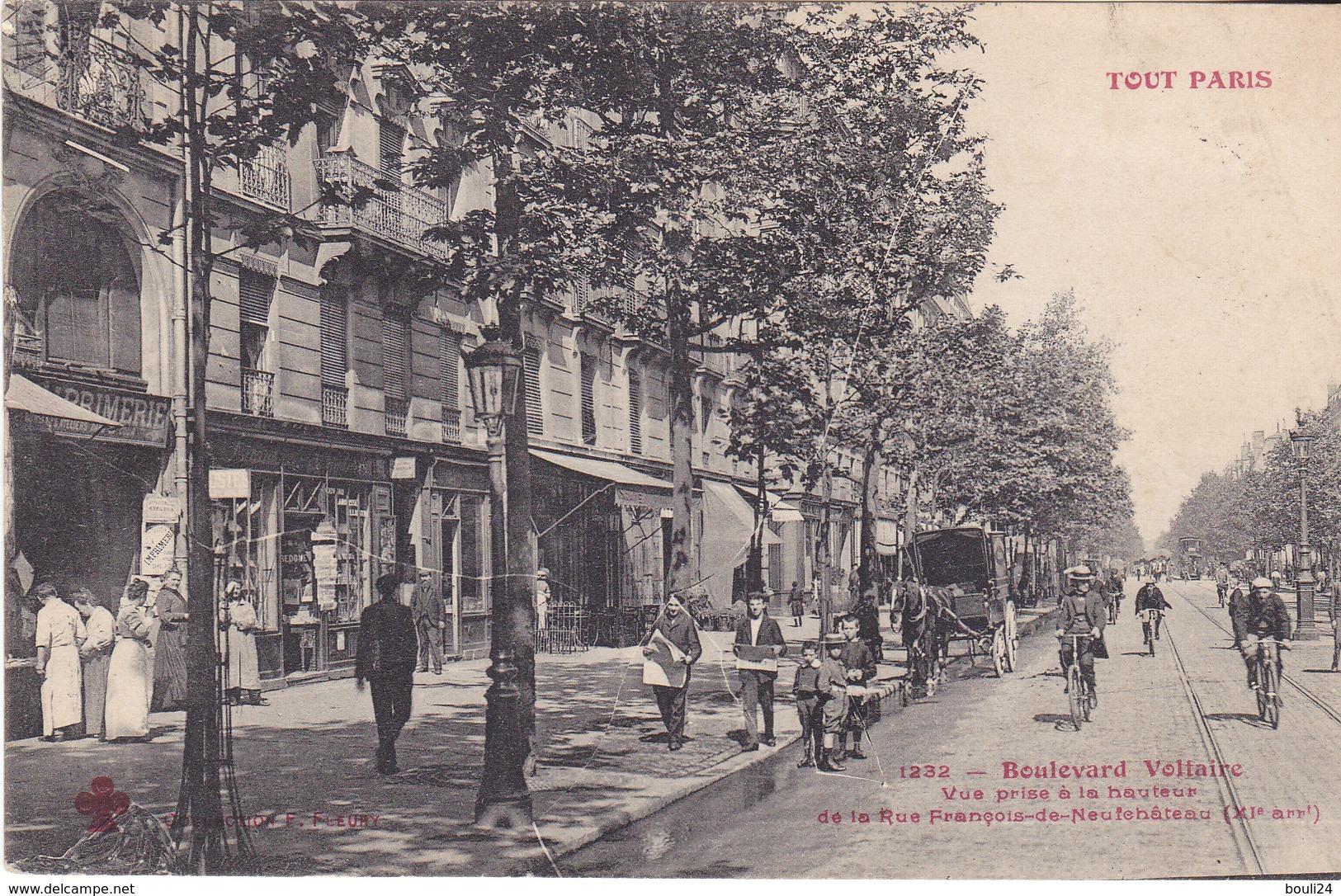 AVIT18-  PARIS  SERIE TOUT PARIS BOULEVARD VOLTAIRE VUE PRISE A HAUTEUR DE LA RUE DE NEUFCHATEAU CPA CIRCULEE - Distretto: 11
