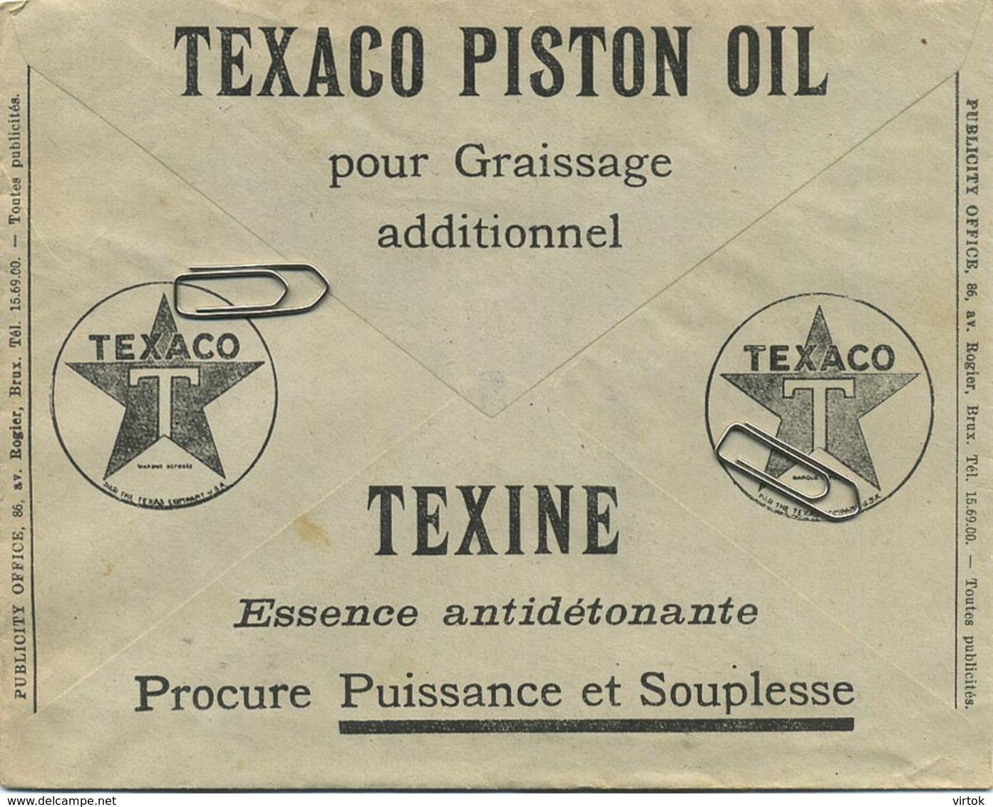 Old Envelope With Publicité 1933: TEXACO Piston Oil : Texine Essence ............... - Entiers Postaux