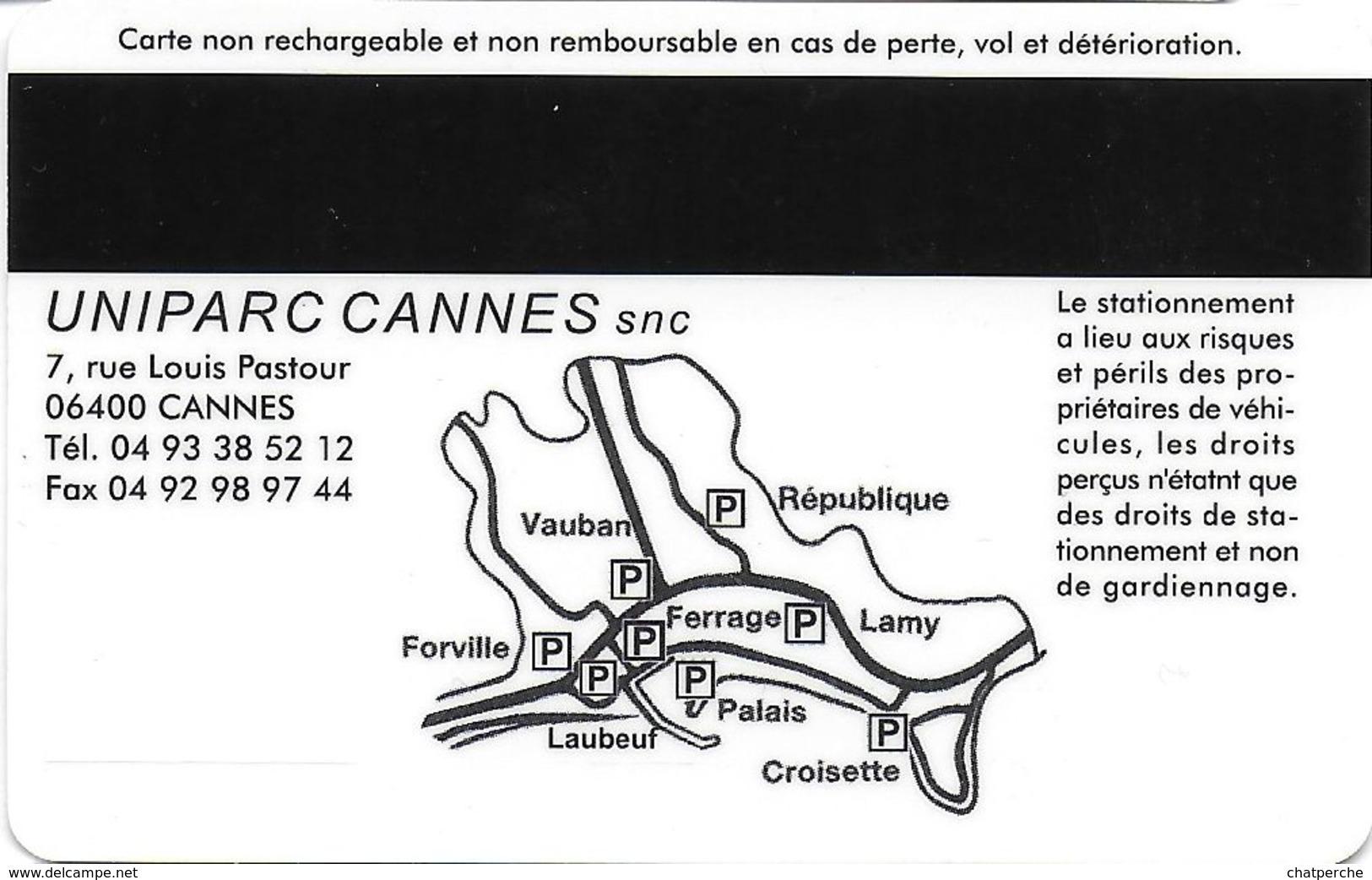 CARTE DE STATIONNEMENT BANDE MAGNÉTIQUE CANNES 06 ALPES-MARITIMES FORFAIT COURTE DUREE - Francia