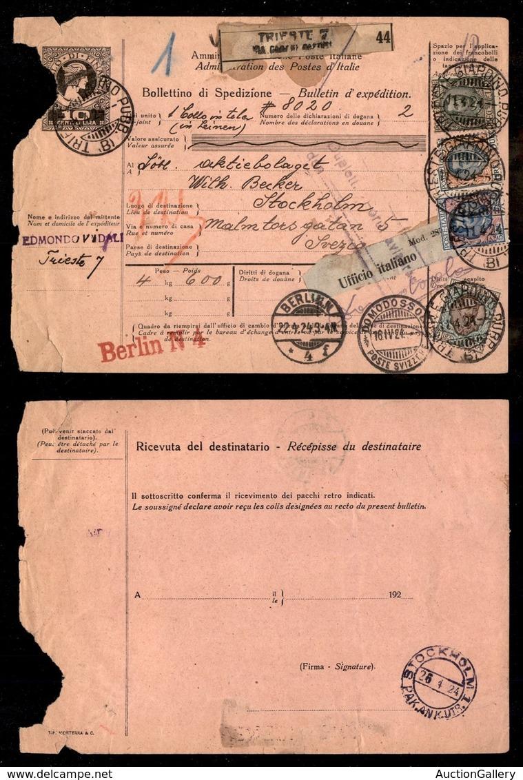 REGNO - POSTA ORDINARIA - 10 Lire Floreale (91) + Complementari (77 + 78 + 150/frode Postale) - Bollettino Pacchi Da Tri - Non Classificati