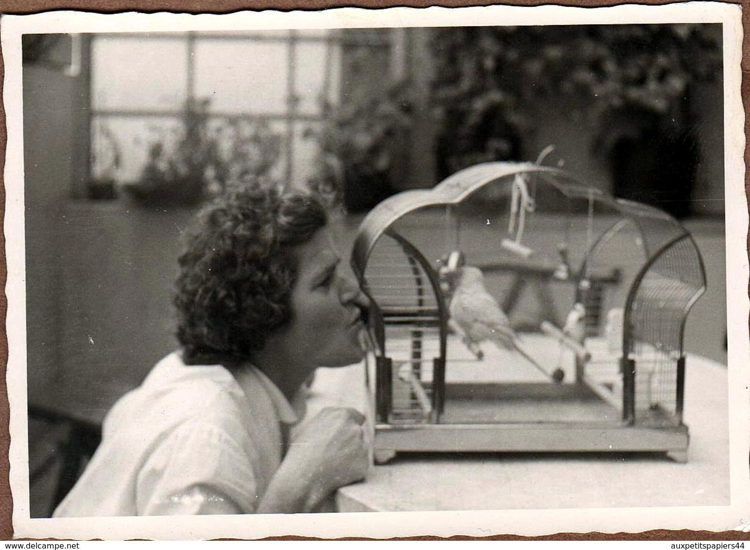 Photo Originale Cage à Oiseaux & Femme Sifflant Un Air à Son Moineau Vers 1950/60 - Objects