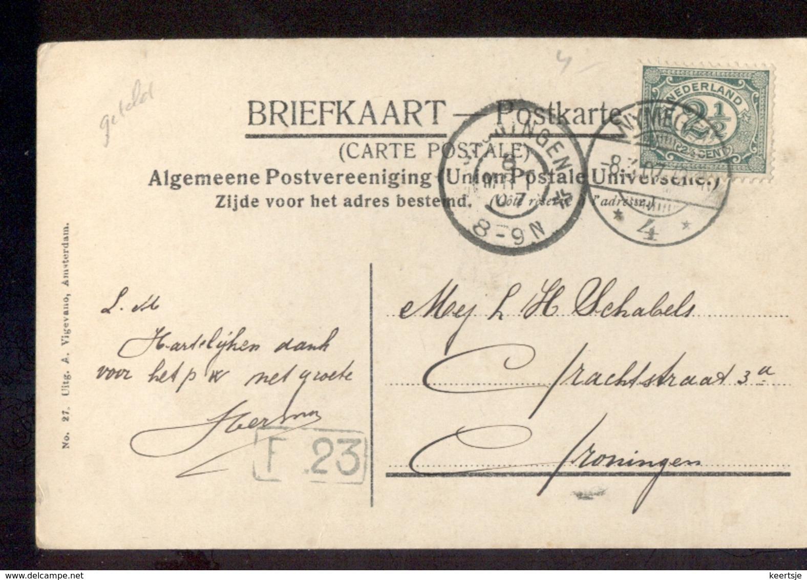 Nymegen 4 Langebalk - Groningen Grootrond - 1907 - Poststempel