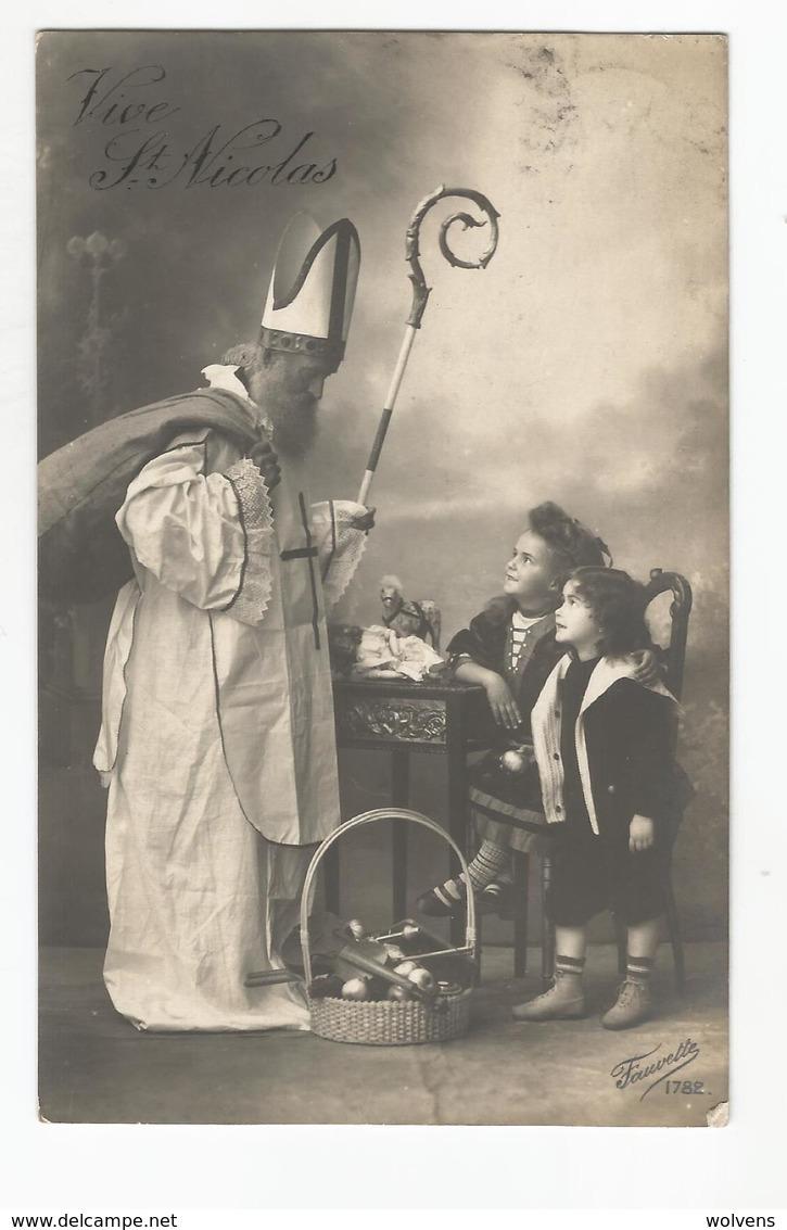 Vive St Nicolas Sint Nikolaas Niklaas Carte Postale Ancienne Animée Avece Enfants - Nikolaus