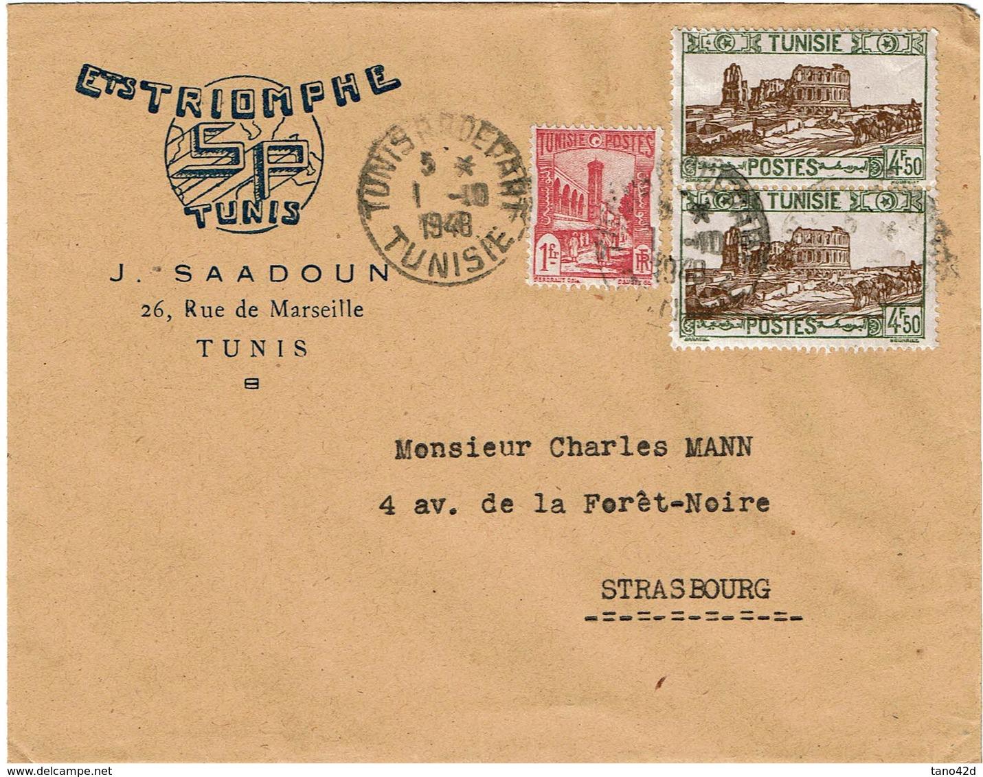 LCTN59/ALS/2B - TUNISIE LETTRE ETS TRIOMPHE TUNIS / STRASBOURG 1/10/1948 - Covers & Documents