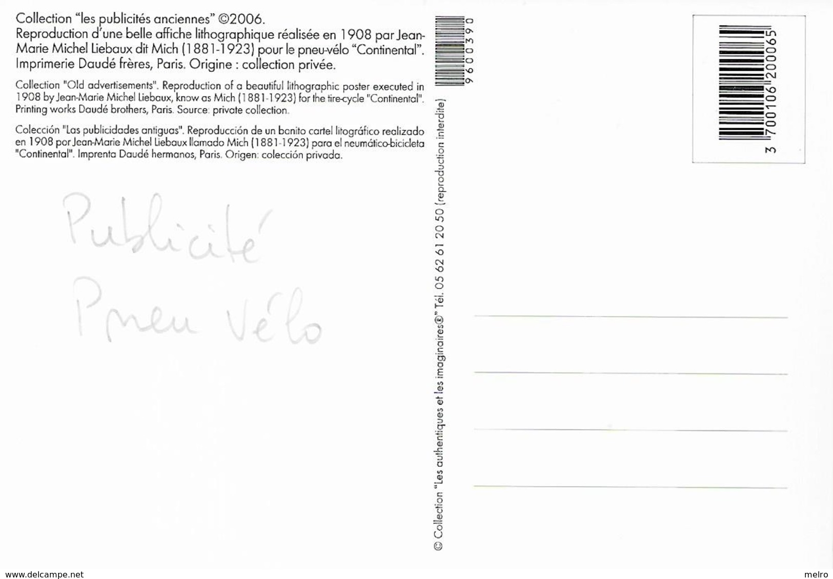 CP - Publicité - Pneu-Vélo - CONTINENTAL (Chien) - L'artiste -MICH. - Pubblicitari