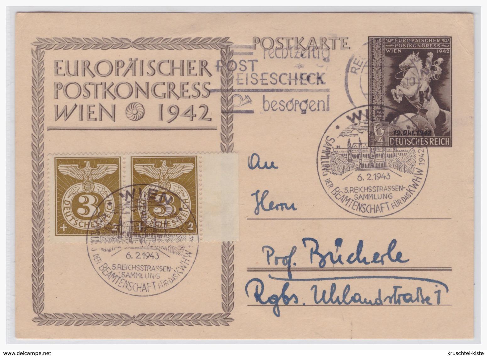 Dt.- Reich (001164) Ganzsache P294, Sonderpostkarte Europäischer Postkongress Wien 1942, Gelaufen Regenburg Am 3.7.1943 - Ganzsachen