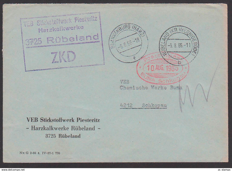 Rübeland Germany ZKD-Brief Stickstoffwerk Piesteritz Harzkalkwerke Nach Schkopau Chem. Werke - DDR