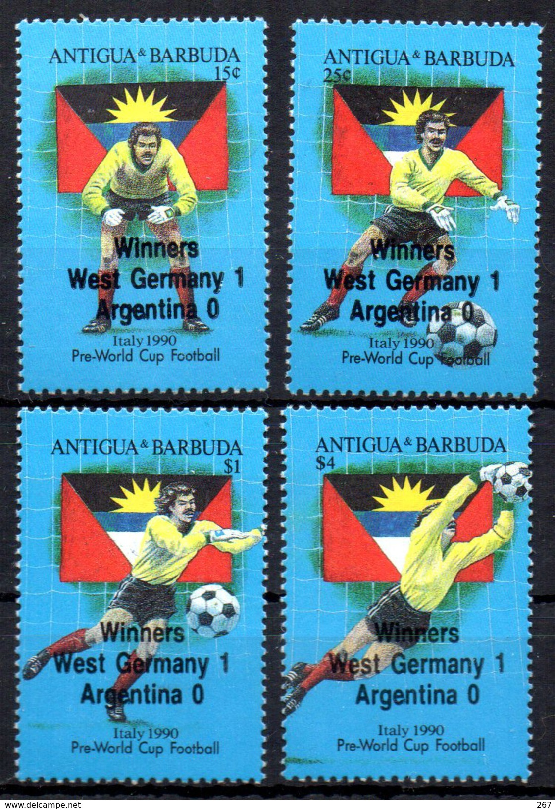 ANTIGUA  N° 1289/92   * *  SURCHARGE   ( Cote 7e )   Cup 1990  Football Soccer Fussball - Wereldkampioenschap