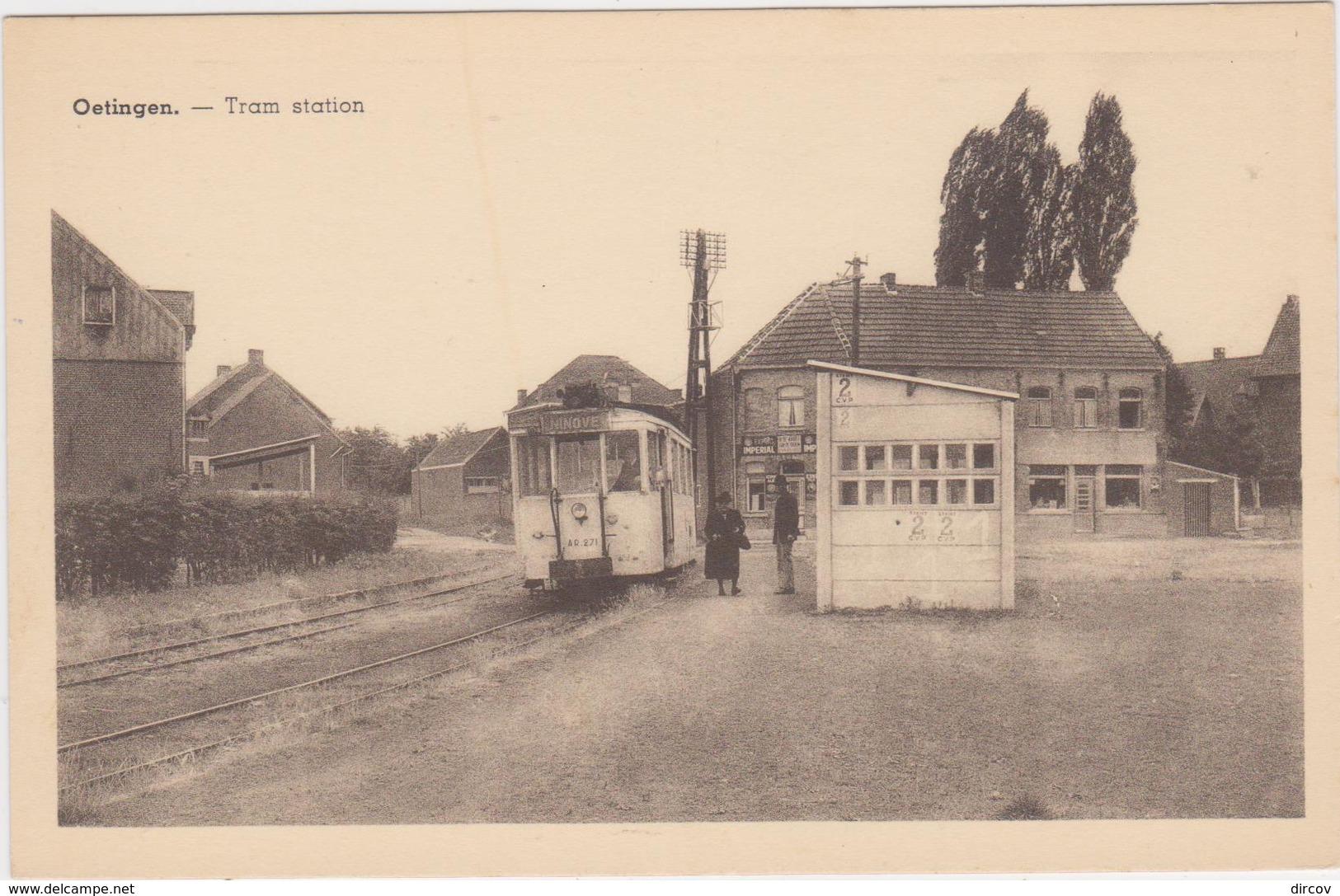 Gooik - Deelgemeente Oetingen - Tramstatie Met Tram - Gooik