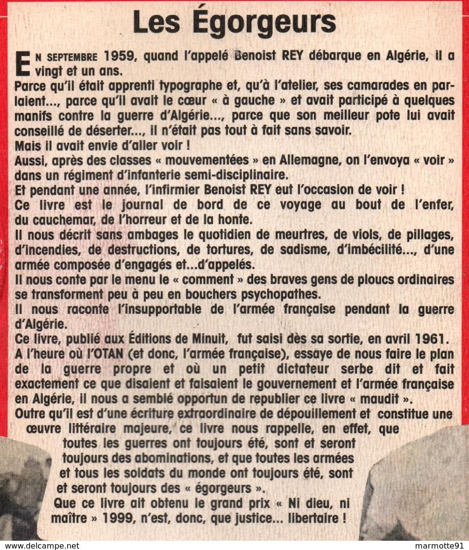 LES EGORGEURS GUERRE ALGERIE CHRONIQUE D UN APPELE 1959 1960 - Boeken