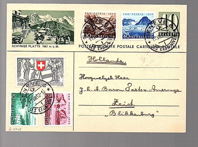 SCHYNIGE PLATTE 1952 Pro Patria 1952 TO Zeist Landgoed Blikkenburg Baron J.G.G. Taets Van Amerongen Van Renswoude  (801) - Interi Postali