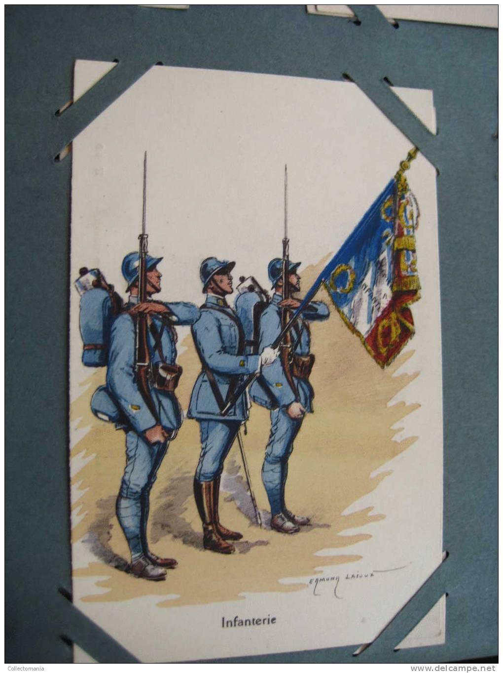 Military Uniforms - Regiments ,499 Postcards, Album SPLENDID, Lithography Hand Coloured, Around 1900 Condition VG - Uniforms