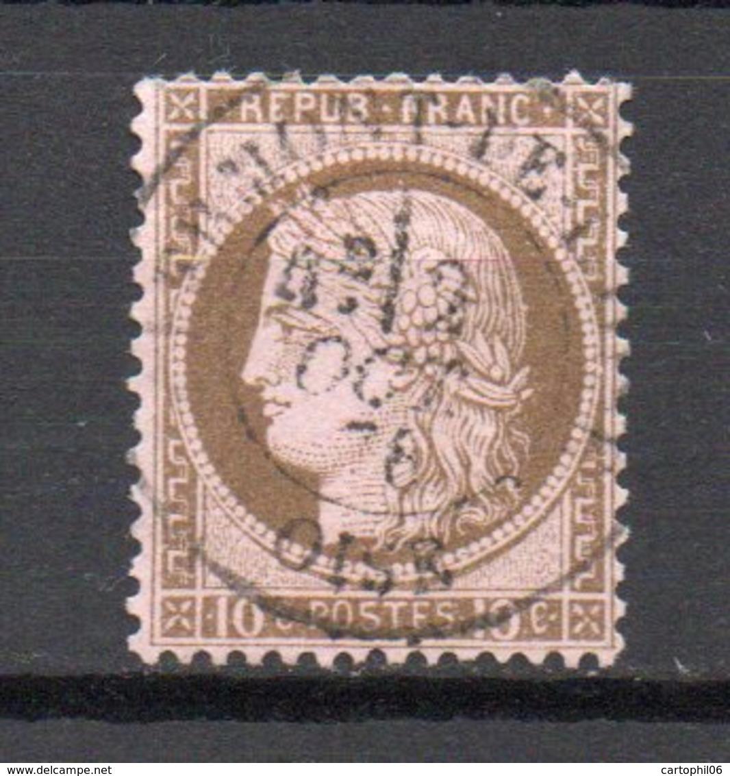 - FRANCE N° 54a Oblitéré CAD - 10 C. Brun Foncé S. Rose Type Cérès 1875, Gros Chiffres - Cote 18 EUR - - 1871-1875 Ceres