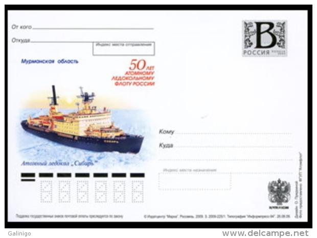 "2009-225 Russia Russland Russie Rusia Card ""B"" Nuclear Icebreaker Fleet. Nuclear Icebreaker 'Sibir'.Ships - Navi Polari E Rompighiaccio"