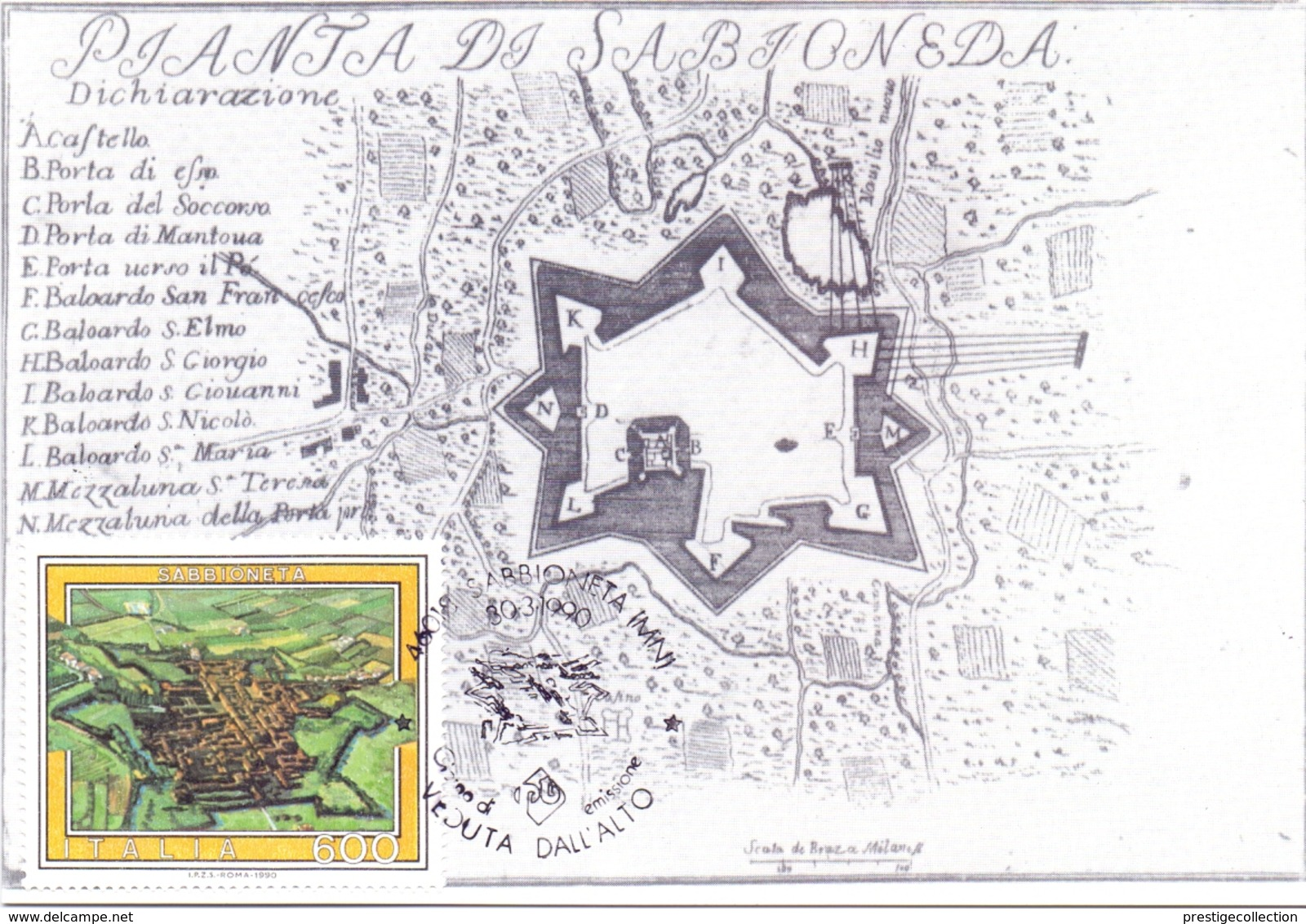 MAPPA DI SABBIONETTA PIAZZE E CASTELLI FORTIFICATI  1990 MAXIMUM POST CARD (GENN200355) - Maximumkarten (MC)