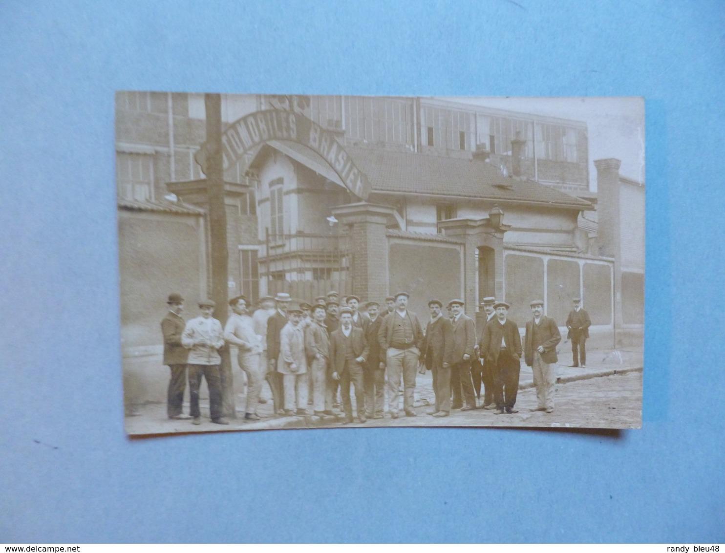 Carte Photo IVRY SUR SEINE - 94  -  Personnels De L'usine BRASIER  -  Automobiles BRASIER  -  Val De Marne - Ivry Sur Seine