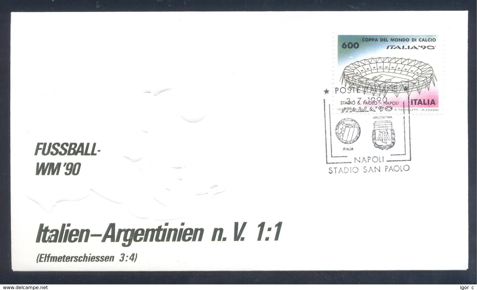 Italy 1990 Cover: Football Fussball Soccer Calcio: Fifa World Cup Italia 90; Italy - Argentina, Stadio San Paolo Napoli - Wereldkampioenschap