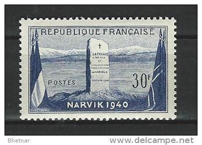 "FR YT 922 "" Bataille De Narvik "" 1952 Neuf** - France"