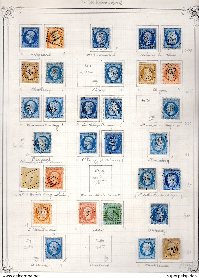 Calvados Très Belle Collection De 62 Pc,et 85 GC (dt 2 Rempl.AL)  Signés Mathieu Cote Pothion (sur Lettre)= 14430 Eu - Marcophily (detached Stamps)
