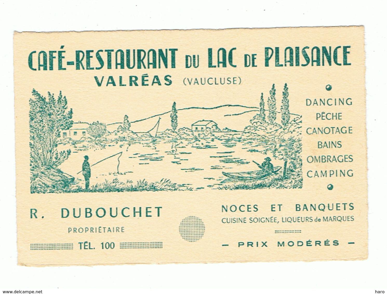 """Carte De Visite - Café - Restaurant De """" Lac De Plaisance """" à VALREAS ( Vaucluse ) (b273) - Visiting Cards"""