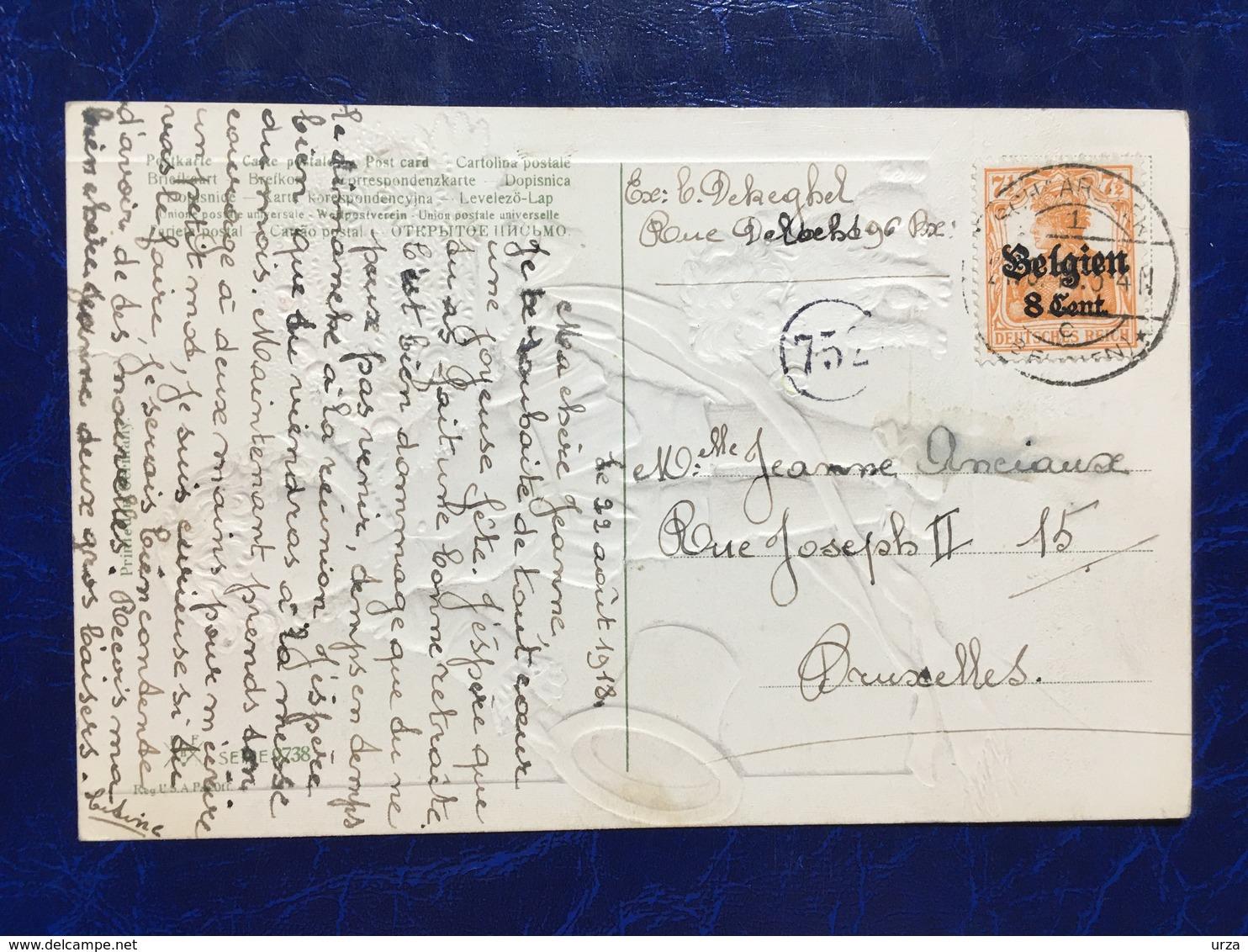 """Embossed-Gaufrée--""""Le Salut Final De L'artiste Avec Son Chien-belle époque""""-(my Ref 639)-22/08/1918 - Other"""