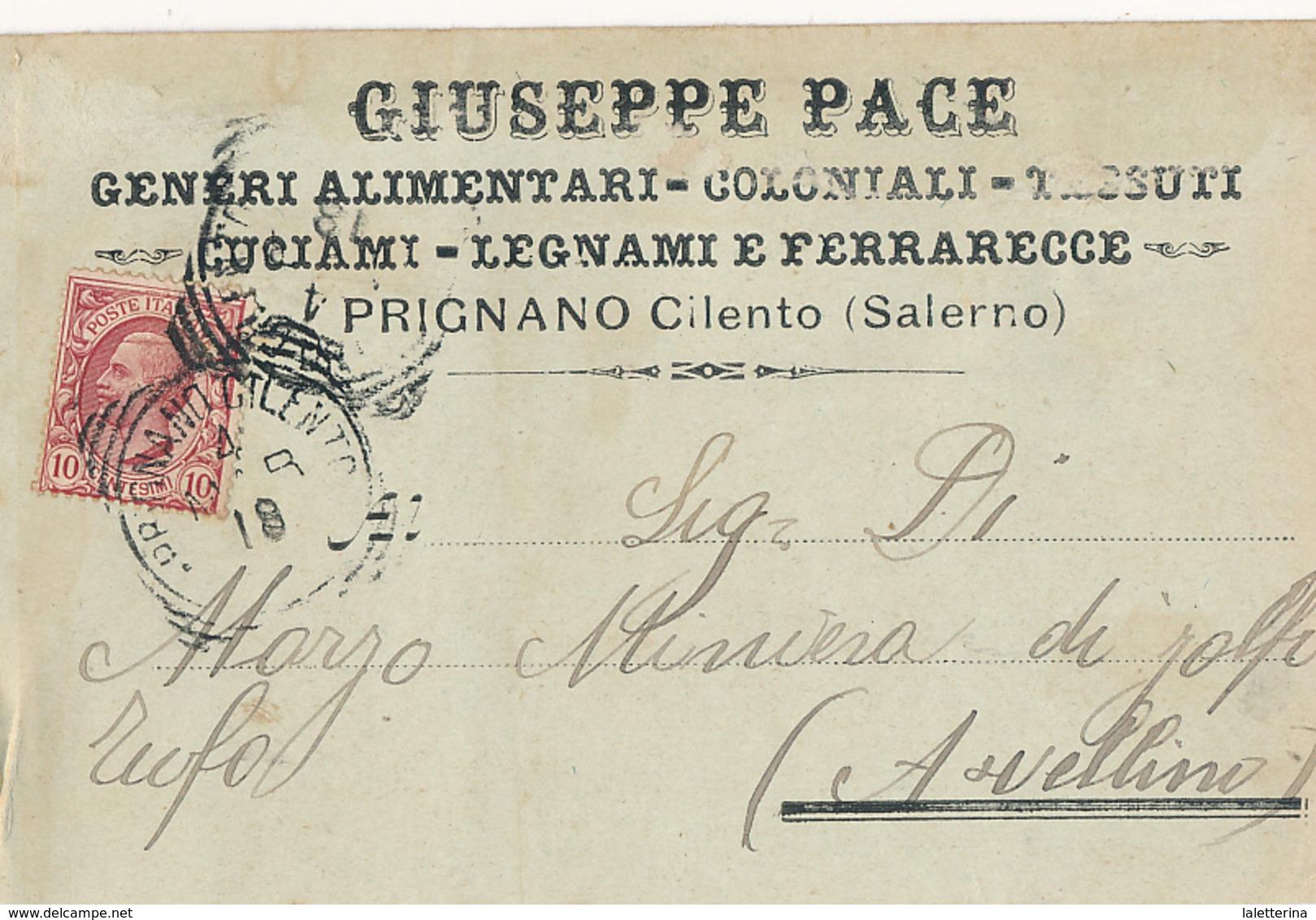 1918 PRIGNANO CILENTO  CARTOLINA COMMERCIALE PUBBLICITARIA ALIMENTARI LEGNAMI - Non Classificati