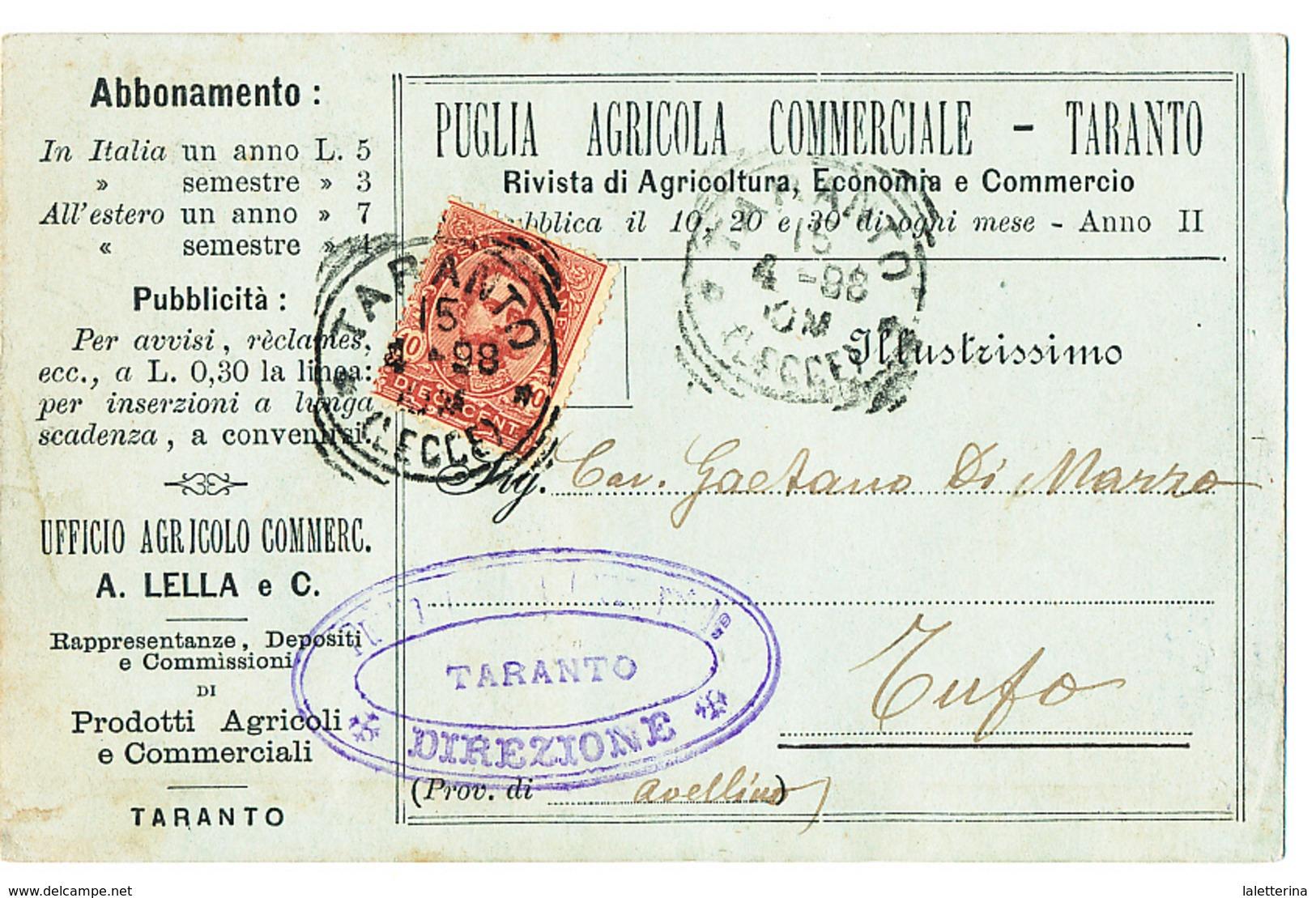 1898 TARANTO  CARTOLINA COMMERCIALE PUBBLICITARIA RIVISTA AGRICOLTURA - Non Classificati