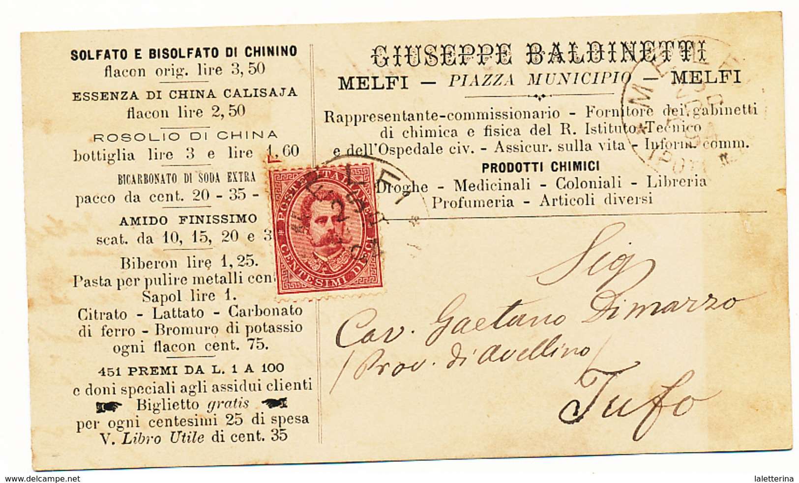 1894 MELFI  CARTOLINA COMMERCIALE PUBBLICITARIA ROSOLI CHINA AMIDO - Italia