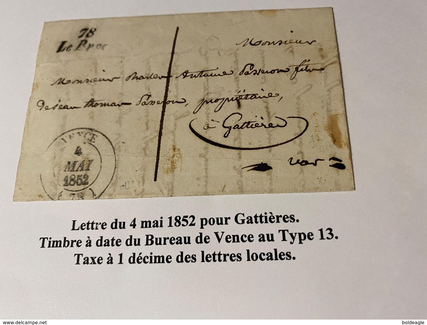 Lettre Du 4 Mai 1852- ( Descriptif Complet Voire Scan De La Lettre ) Port Offert - 1849-1876: Klassieke Periode