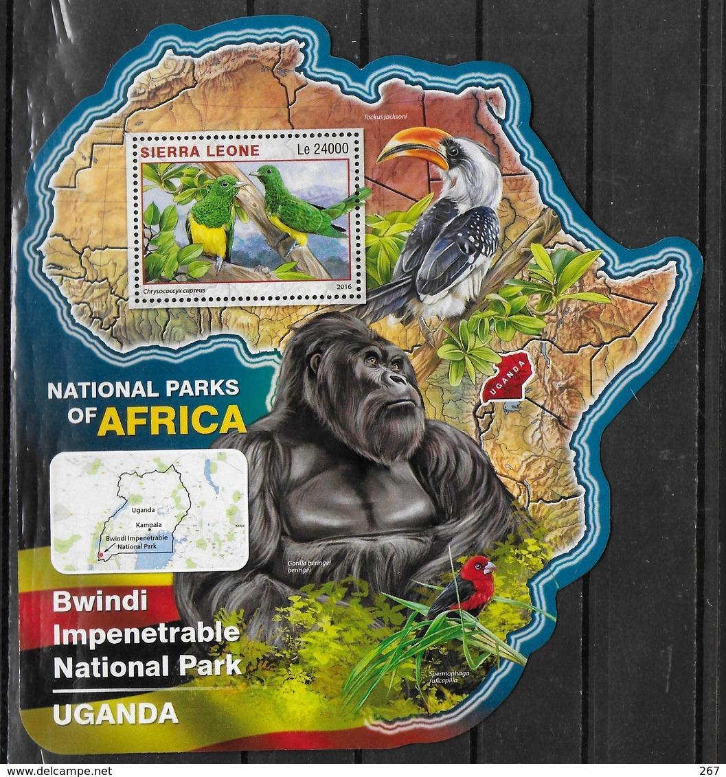 SIERRA LEONE BF 969  * *  ( Cote 20e )  Parc Ouganda Oiseaux Gorille - Papegaaien, Parkieten