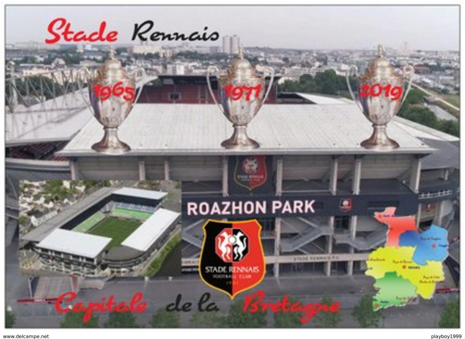 Football - Le Roazhon Park - Stade Rennais - Les 3 Coupes De France -  La Carte Du Département De L'ille Et Vilaine - - Fútbol