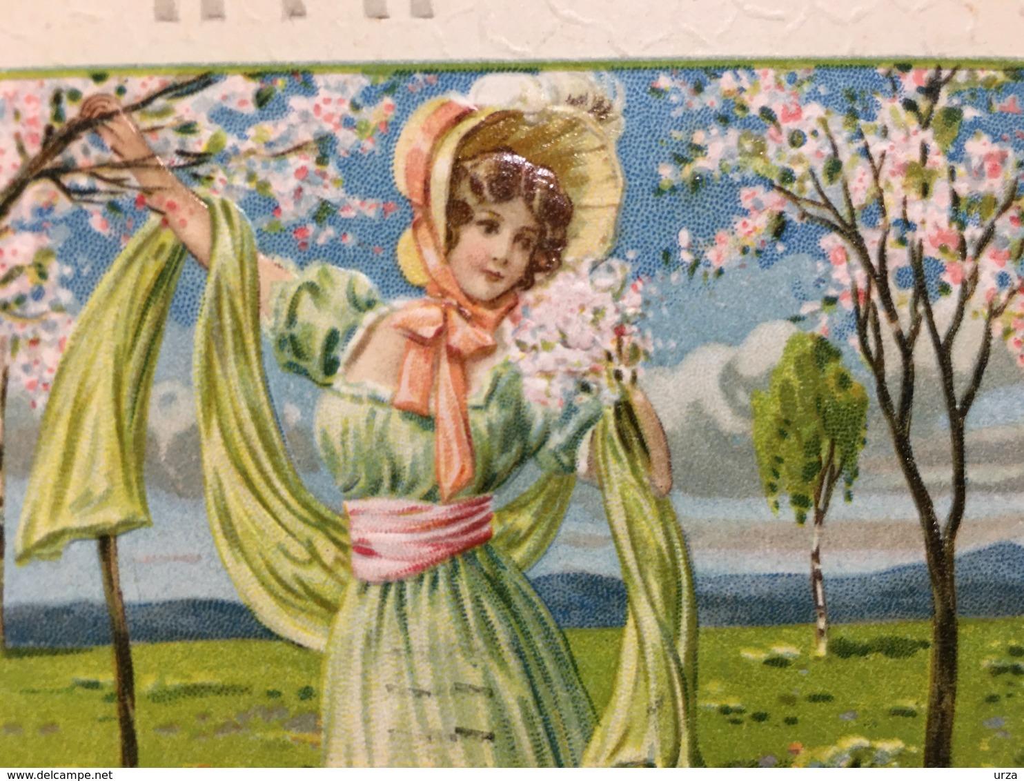 """Art Deco-Embossed-gaufrée--""""Jeune Femme Appréciant La Nature """"-(my Ref 673)-1909 - Femmes"""