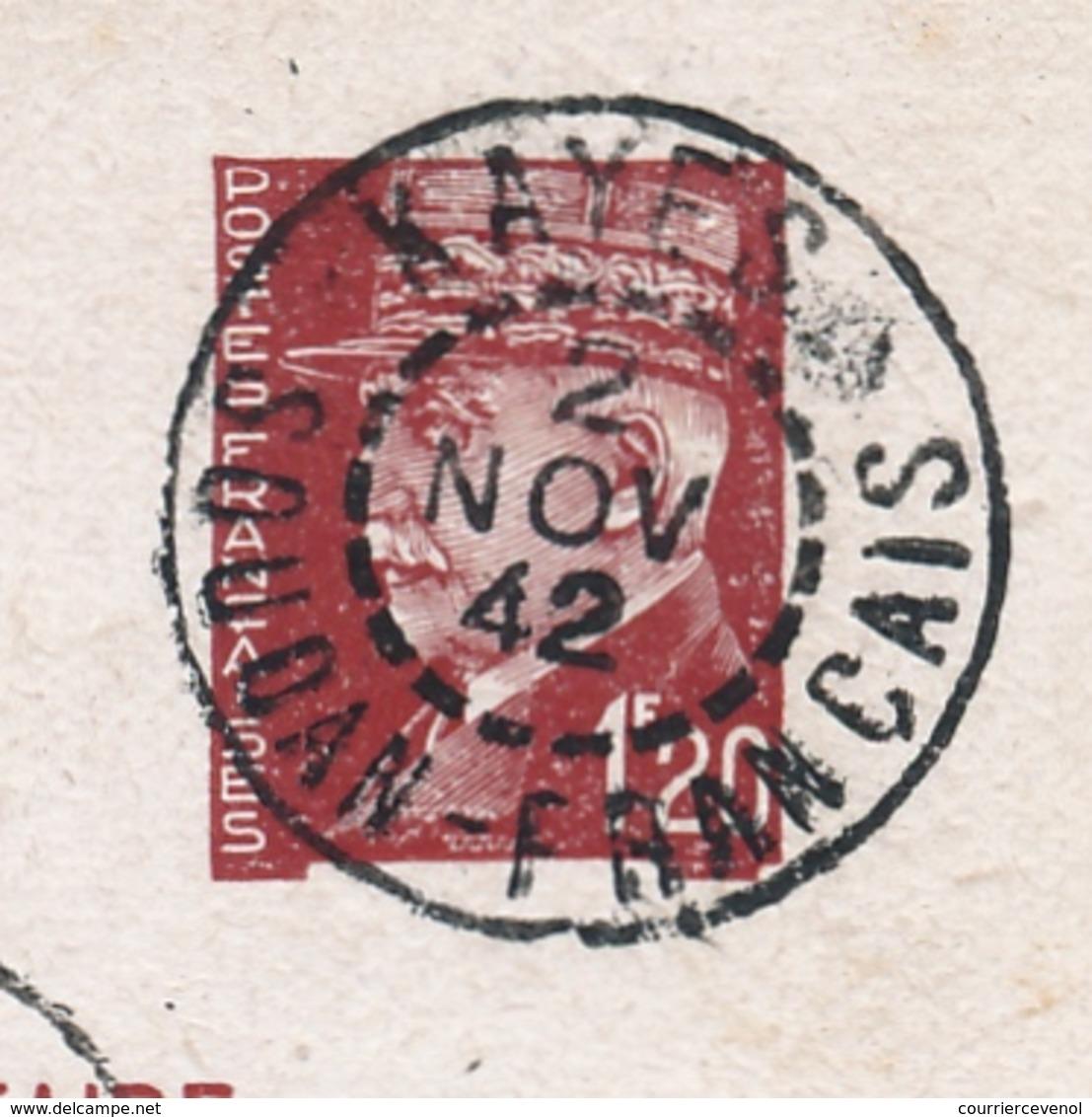 2 Entiers CP 1,20 Pétain - De Et Pour KAYES (SOUDAN FRANÇAIS) 1942 - Dont Surtaxe Paris R.P.Avion 3,50F - Cartes Postales Types Et TSC (avant 1995)