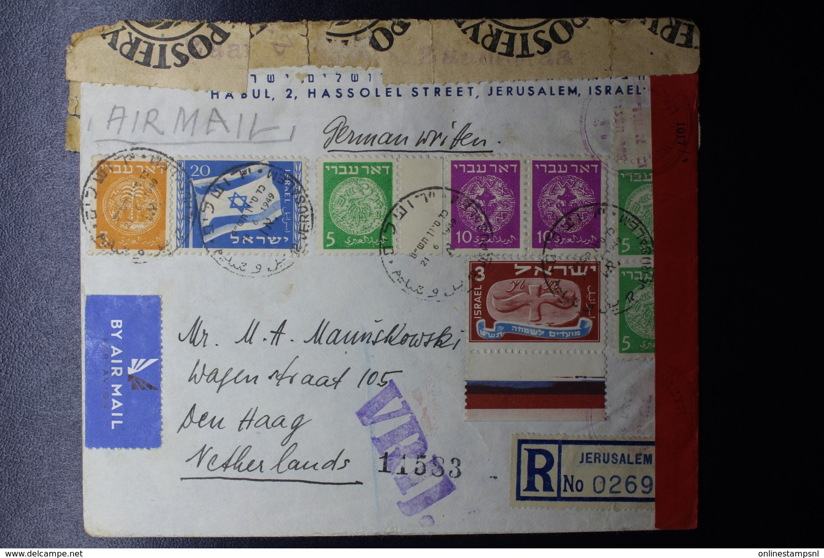 ISRAEL Mixed Stamps First Emmision Reg. Cover 1949 Jerusalem -> The Hague With DUTCH Censorlabels RRR - Israël
