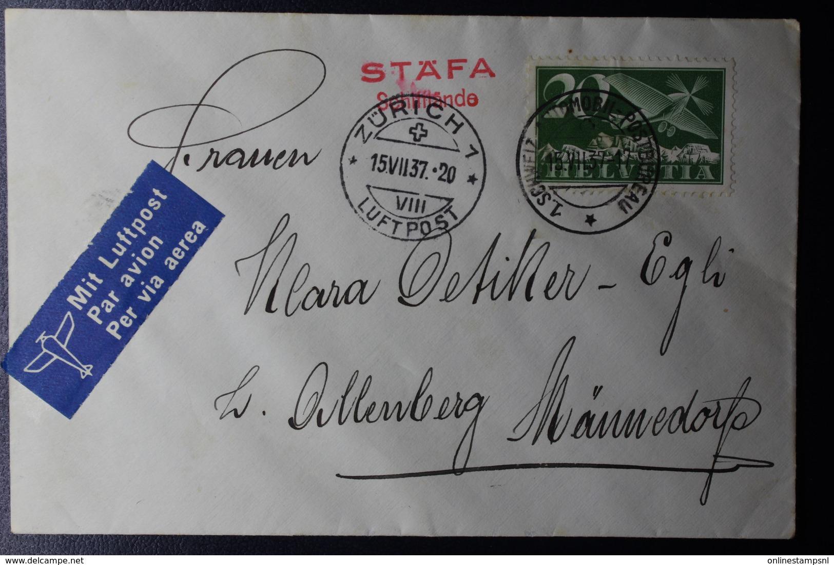 Switserland Airmail Cover STÄFA SCHIFFLANDE  1937 Automobile Postbureau Mi Nr 213 - Zwitserland