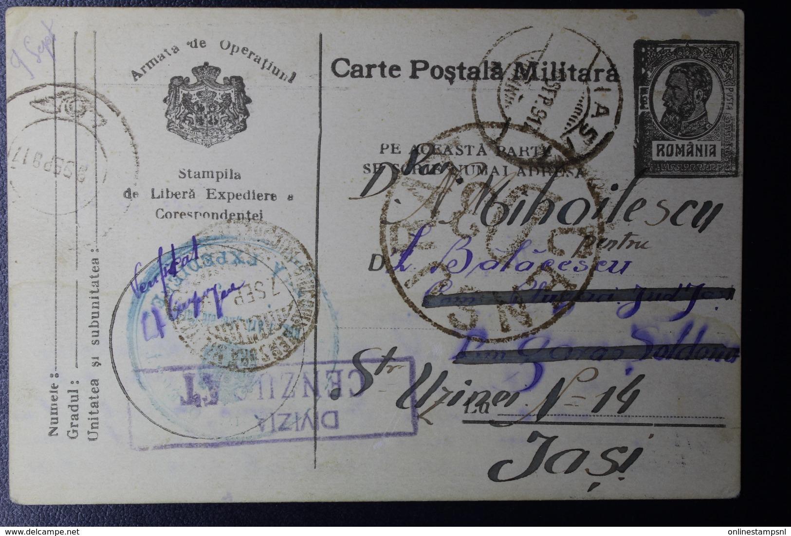 Romania Varte Posta Militaira 1917 Feldpost Blue Frank Cachet 3 Various Censor Cachets To Soldana Forwarded To IASI - 1ste Wereldoorlog (Brieven)