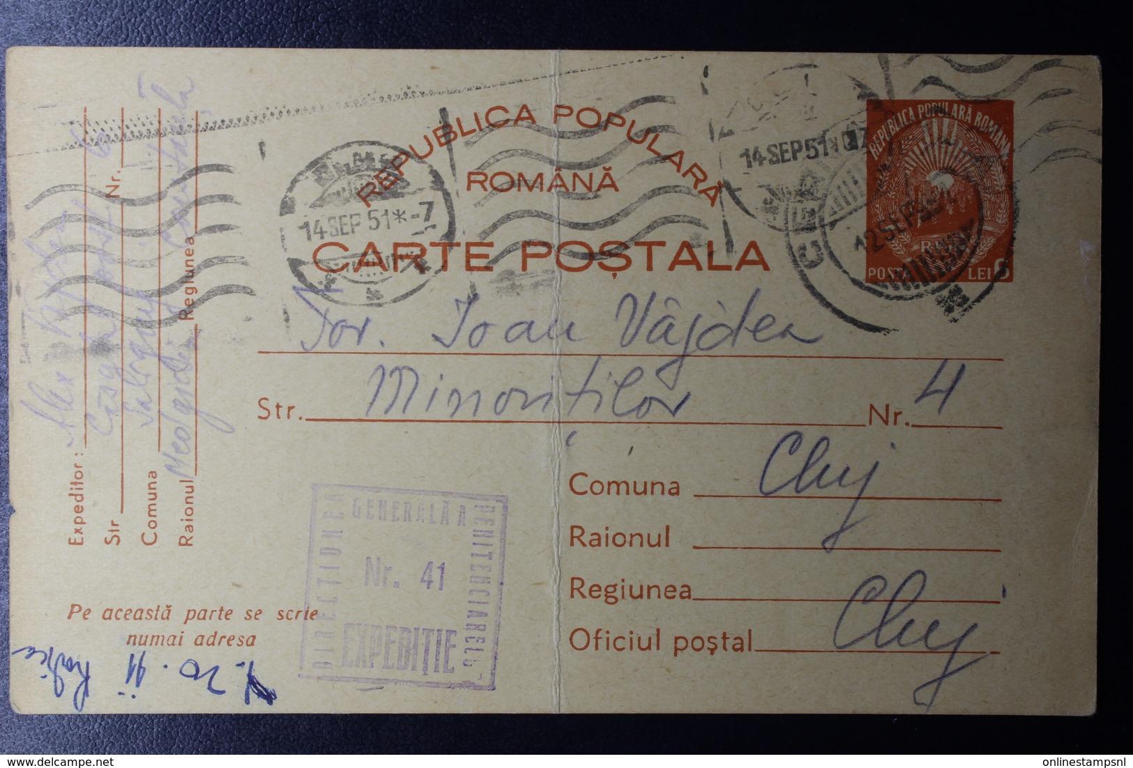 Romania Prison Camp Mail 1951 Cernauti CDS  DIRECTIUMEA GENEALAA PENITENCIARELOR NR 41 Camp Danube-Blacksea Canal - Brieven En Documenten