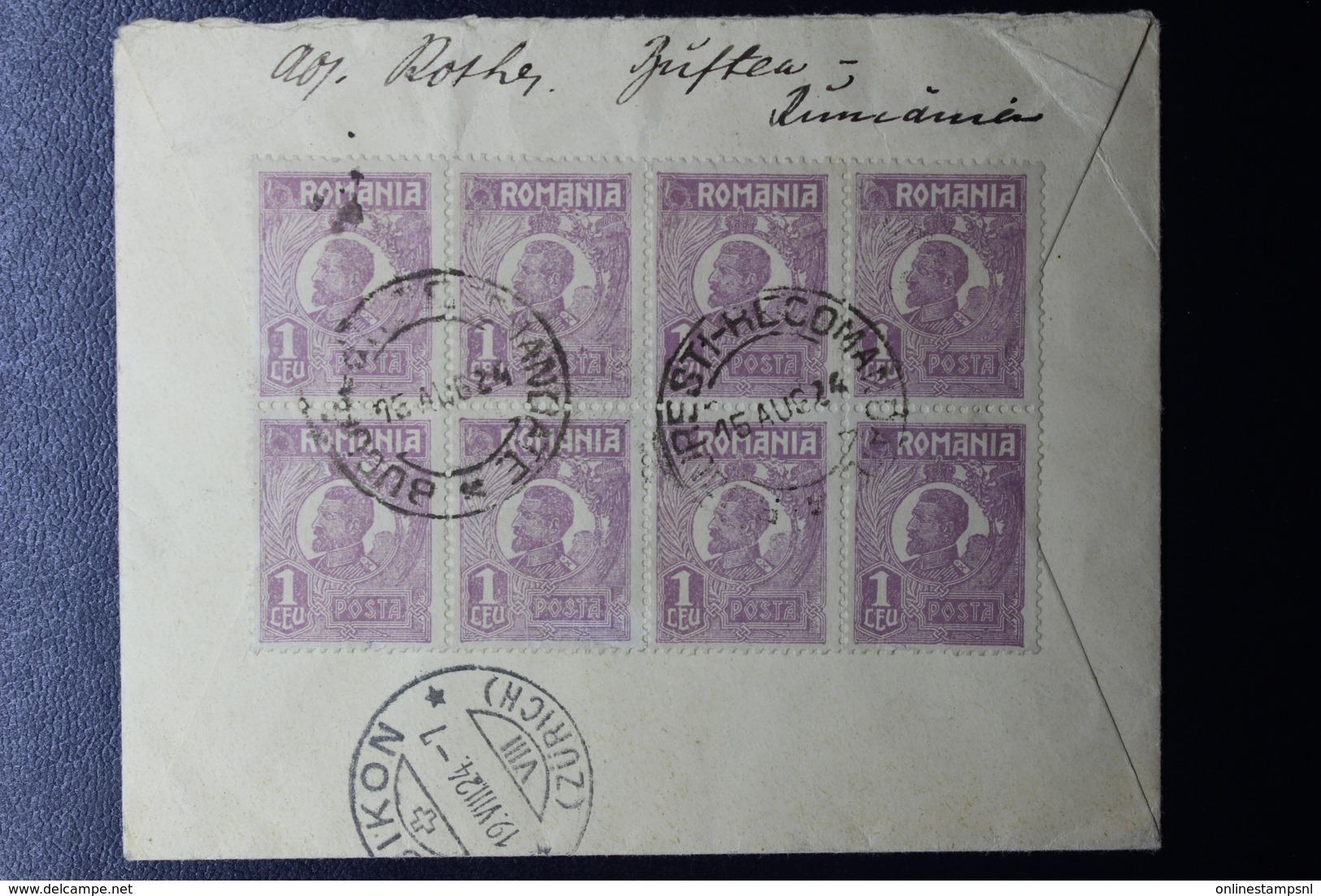Romania Registered Cover 10x Mi 222, CDS Bucuresti To Bubikon CDS Switserland 1924 - Brieven En Documenten