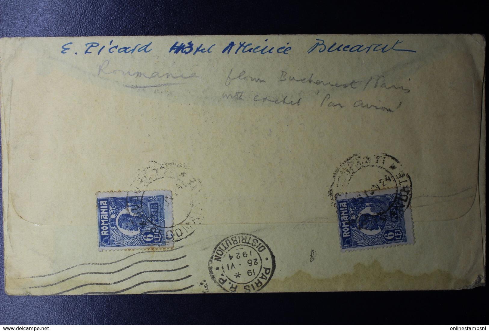 Romania Airmail Cover 2x Mi 281, CDS Bucuresti To Bubikon Violet PAR AVION To Paris 1924  Early Flight - Brieven En Documenten