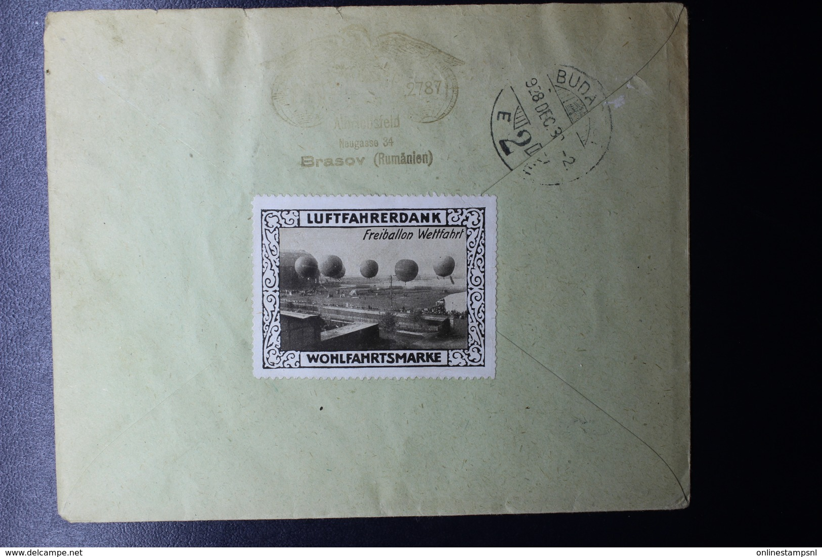 Romania Registered BALLOON Cover With 2L Airmail , Brasov CDS Decorative Balloon Publicity Label On Reverse - Brieven En Documenten