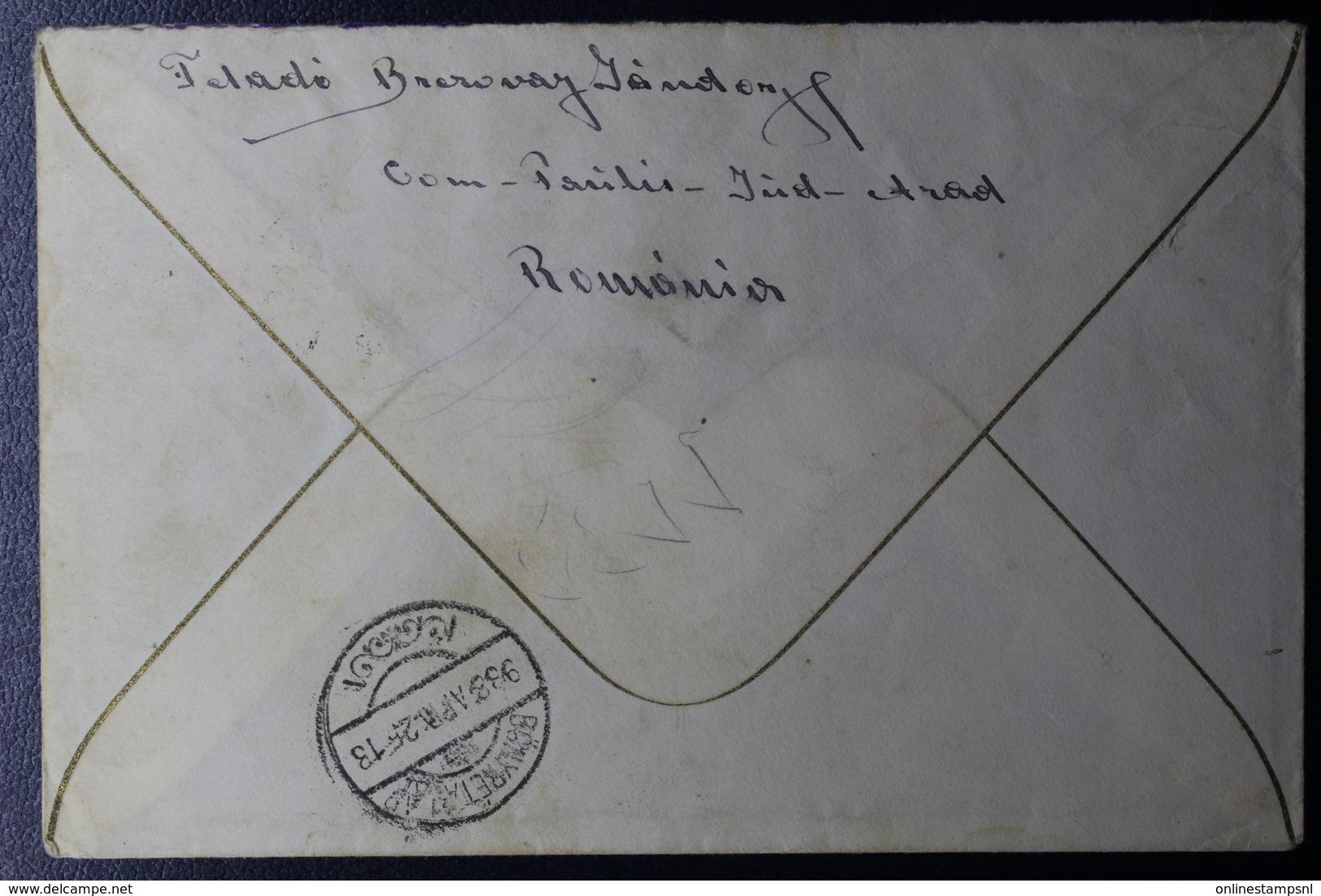 Romania Railway TPO  Cover 7.50 Little Entente Teius-Arad / 269 TPO To Györ Hungary 1938  Mi 536 - Brieven En Documenten