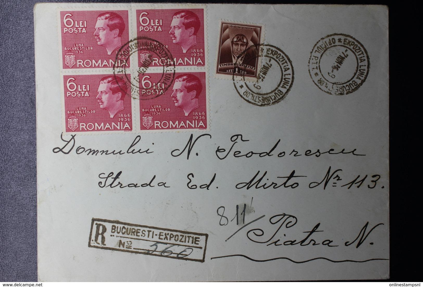 Romania Registered Cover 1936 LUNA BUCURESTILOR EXhibition Block Of 4 Mi 508 Special Cancel Expozitia Bucurestilor - Brieven En Documenten